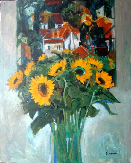 Sunflowers with Rays Painting (sold)